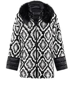 Dilia vest | Jacket with black-and-white graphic design