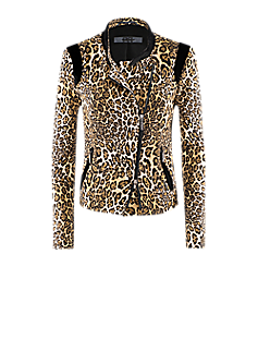 Blues jacket l Bike style leopard print jacket with asymmetric zipper
