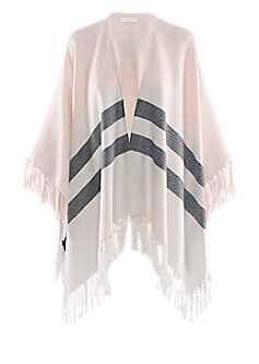 Cape-600 | Cape with stripes and fringes