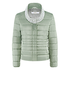 Dot jacket | Quilted jacket with knit collar