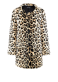 Hillary jacket l Rabbit fur leopard print jacket