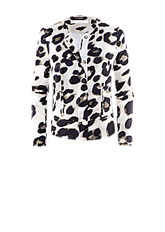 Pito jacket | Collarless blazer with animal print