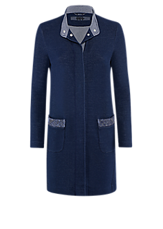 Step long jacket | Jersey frock coat with patch pockets