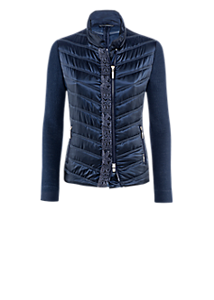 Variety jacket | Quilted jacket with lace insert and denim sleeves
