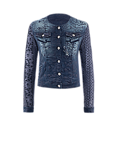 Zana jacket | Coated jacket in denim look with lace sleeves